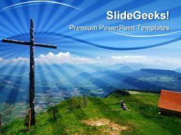 Wooden Cross Religion PowerPoint Templates And PowerPoint Backgrounds 0411
