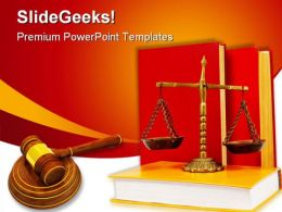 Wooden Gavel Law PowerPoint Template 1110