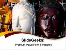 Wooden Mask Of Buddha Religion PowerPoint Templates And PowerPoint Backgrounds 0511