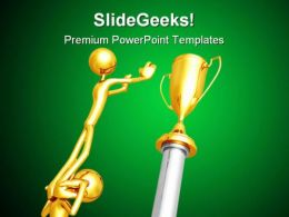 Working Together For Gold Trophy Business PowerPoint Templates And PowerPoint Backgrounds 0511