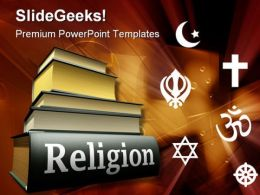 World Books Religion PowerPoint Template 1110