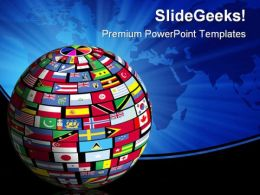 World Flags Globe Earth PowerPoint Background And Template 1210