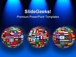 World Flags Globe PowerPoint Template 1110