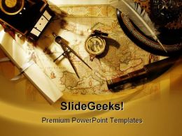 World Map And Compass Travel PowerPoint Backgrounds And Templates 1210