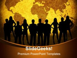 World Map Business People PowerPoint Template 1110
