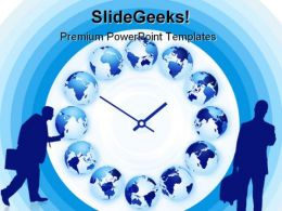 World Time Clock Globe PowerPoint Templates And PowerPoint Backgrounds 0311