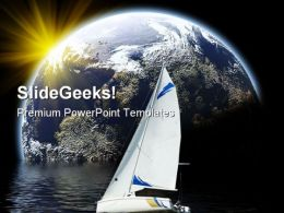 Yacht In Planet Earth PowerPoint Backgrounds And Templates 0111