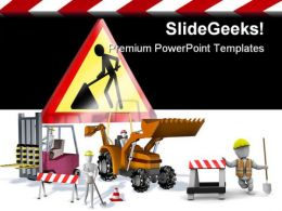 Yard Scraper Fork Construction PowerPoint Backgrounds And Templates 1210