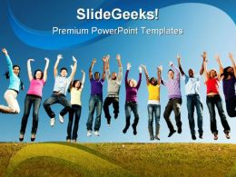 Young Adults Group People PowerPoint Template 0810