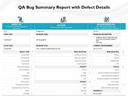 QA Bug Summary Report With Defect Details