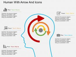 Qa Human With Arrow And Icons Flat Powerpoint Design