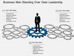Qc Business Man Standing Over Gear Leadership Flat Powerpoint Design
