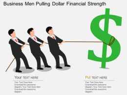 Qd Business Men Pulling Dollar Financial Strength Flat Powerpoint Design