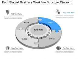 qd Four Staged Business Workflow Structure Diagram Powerpoint Template