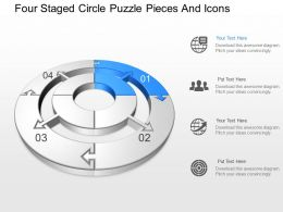 qe Four Staged Circle Puzzle Pieces And Icons Powerpoint Template