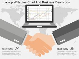 Qe Laptop With Line Chart And Business Deal Icons Flat Powerpoint Design