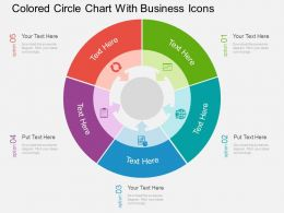 Qg Colored Circle Chart With Business Icons Flat Powerpoint Design
