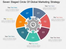 Qg Seven Staged Circle Of Global Marketing Strategy Flat Powerpoint Design