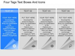 qh Four Tags Text Boxes And Icons Powerpoint Template