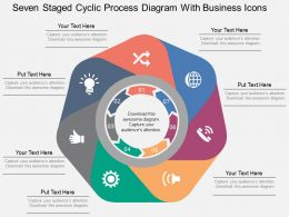 Qh Seven Staged Cyclic Process Diagram With Business Icons Flat Powerpoint Design