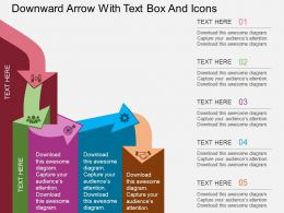 Qi Downward Arrow With Text Box And Icons Flat Powerpoint Design