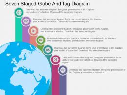 Qi Seven Staged Globe And Tag Diagram Flat Powerpoint Design