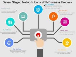 Qj Seven Staged Network Icons With Business Process Flat Powerpoint Design