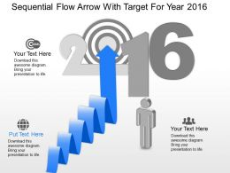 qk Sequential Flow Arrow With Target For Year 2016 Powerpoint Template