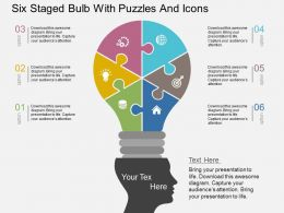 Qk Six Staged Bulb With Puzzles And Icons Flat Powerpoint Design