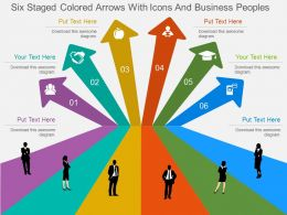 Ql Six Staged Colored Arrows With Icons And Business Peoples Flat Powerpoint Design