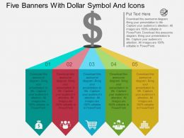 Qo Five Banners With Dollar Symbol And Icons Flat Powerpoint Design