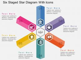 Qp Six Staged Star Diagram With Icons Flat Powerpoint Design