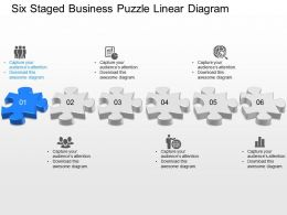 qq Six Staged Business Puzzle Linear Diagram Powerpoint Template