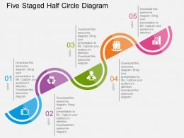 Qr Five Staged Half Circle Diagram Flat Powerpoint Design