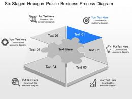 qr Six Staged Hexagon Puzzle Business Process Diagram Powerpoint Template