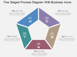 Qt Five Staged Process Diagram With Business Icons Flat Powerpoint Design