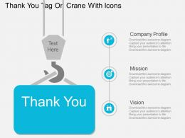Qt Thank You Tag On Crane With Icons Flat Powerpoint Design