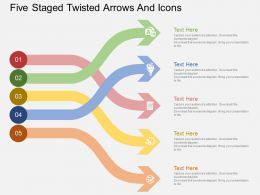 Qu Five Staged Twisted Arrows And Icons Flat Powerpoint Design