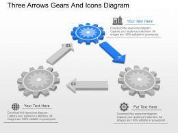 qu Three Arrows Gears And Icons Diagram Powerpoint Template