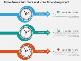 Qu Three Arrows With Clock And Icons Time Management Flat Powerpoint Design