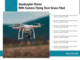 Quadcopter Drone With Camera Flying Over Grass Filed