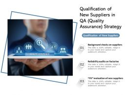 Qualification Of New Suppliers In QA Quality Assurance Strategy