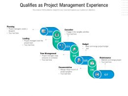 Qualifies As Project Management Experience
