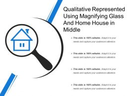 Qualitative Represented Using Magnifying Glass And Home House In Middle