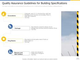 Quality Assurance Guidelines For Building Specifications Construction Project Risk Landscape Ppt Template