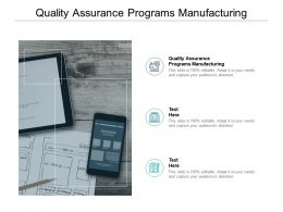 Quality Assurance Programs Manufacturing Ppt Powerpoint Presentation Gallery Cpb