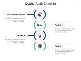 Quality Audit Checklist Ppt Powerpoint Presentation Model Gridlines Cpb
