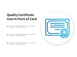 Quality Certificate Icon In Form Of Card