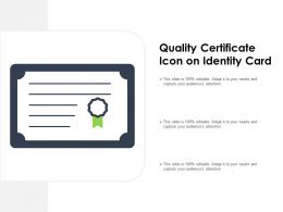 Quality Certificate Icon On Identity Card