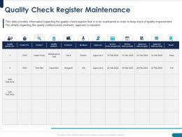 Quality Check Register Maintenance Approver Powerpoint Presentation Slide
